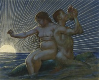 tritonenpaar [triton and nereid] by hans thoma